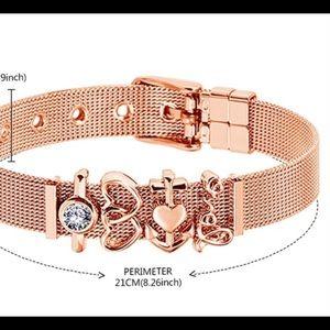 Jewelry - Rose Gold Mesh Strap Charm Wristband Bangle